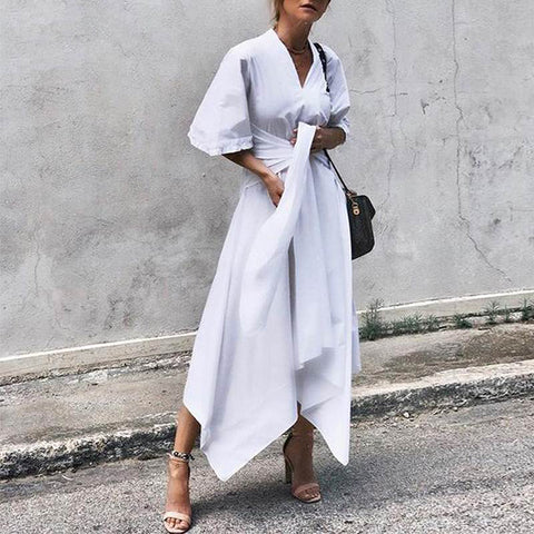 V Neck Mid Sleeve Belted White Maxi Dresses for Women