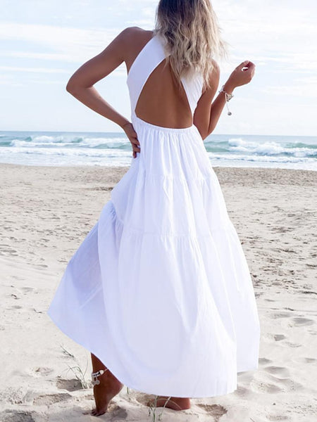 Deep V Backless Sexy Slim Solid Color Beach Dress