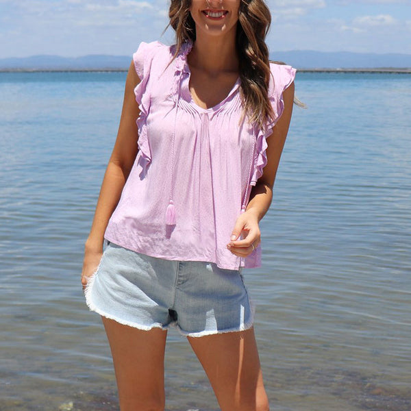 V-Neck Short Sleeves Flouncing T-Shirt