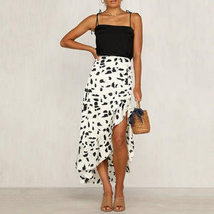 Sexy Printed Ruffled Irregular Skirt