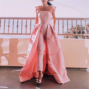 Women's Ruffle Sleeve Splicing Maxi Dress Hem Jumpsuits