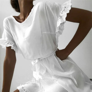 Fashion Round Neck Ruffled Short Sleeve Dresses