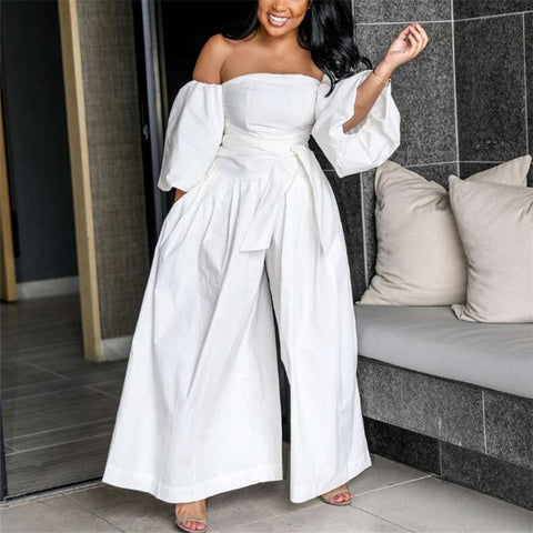 Loose Puff Sleeve Off Shoulder Wide Legs Jumpsuit