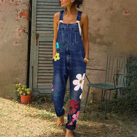 Fashion Denim Print Jumpsuit