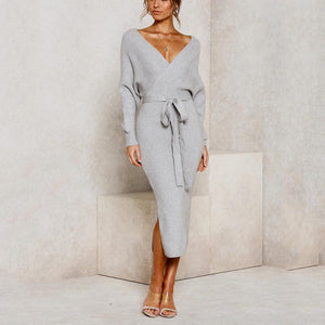 Sexy Bag Hip V-Neck Lace Long Sleeve knit Dress