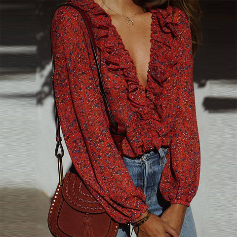 Sweet V Neck Printed Colour Bell Sleeve Blouse
