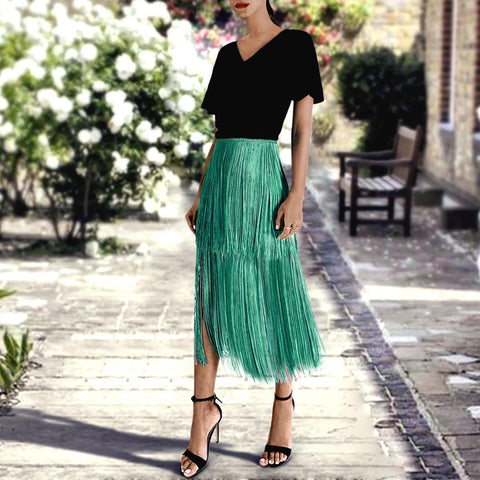 Sexy Green Tassel Layered Overskirt Maxi Dress