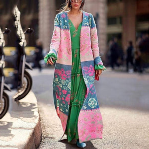 Women's Bohemian Printed Color Long Sleeve Slit Cardigan