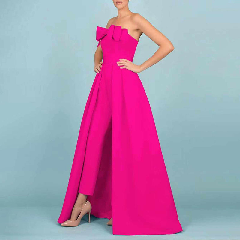 Casual Off-Shoulder Sleeveless Bowknot Pure Colour Jumpsuit