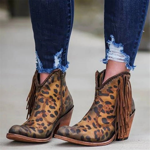 Women's Leopard Tassel Side Zipper Thick Heel Boots