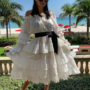 Vintage Boat Neck Ruffled Mini-Skirt
