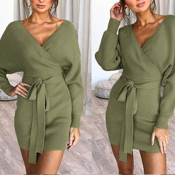 Sexy Bag Hip Solid Color Long Sleeve  Dress