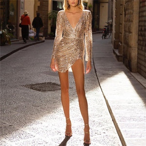 Sexy Sequined Decorative Deep V-Neck Dress