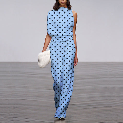 Commuting Asymmetry Sleeve Wave Point Jumpsuit