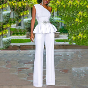 Women's Commuting Sloping Shoulder Pure Color Ruffled Ruched Jumpsuit