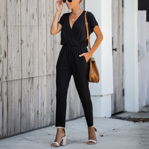 Women's Commuting Short Sleeve Deep V-Neck Loose Ruched Jumpsuit