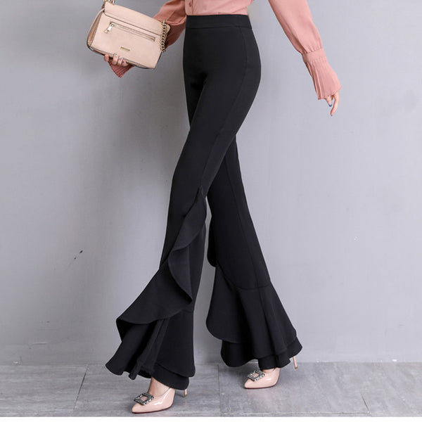 Casual Solid Color Wide Leg Micro Pants