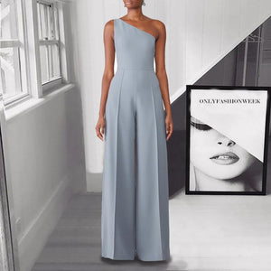 Brief Sloping Shoulder Sleeveless Ankle-Length Jumpsuit