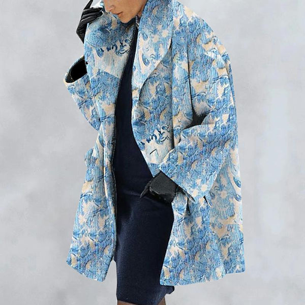 New Warm Fashion Print Collar Coat
