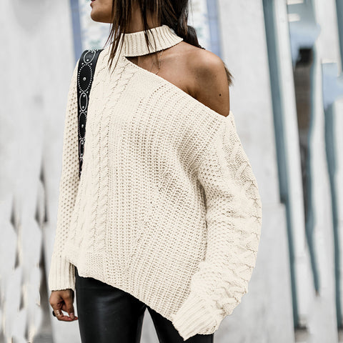 Sexy Sloping Shoulder Pure Colour Sweater