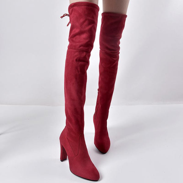 Autumn and winter foreign trade new European and American pointed thick with side zipper over the knee boots elastic female boots