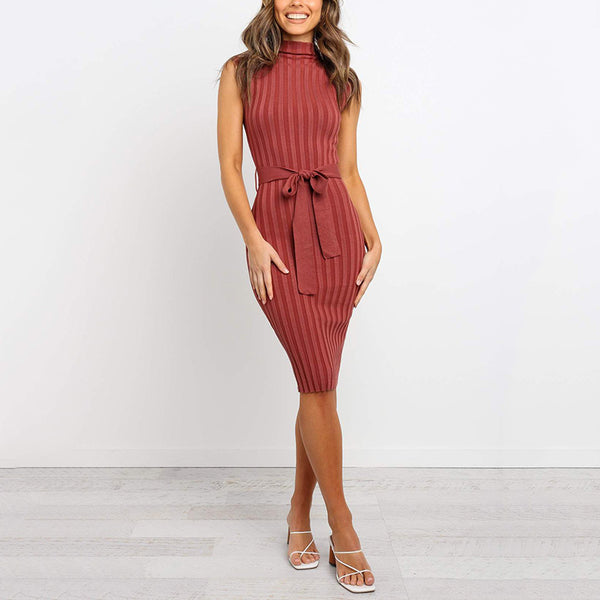 Sleeveless Belted Stand Collar Knit Dress