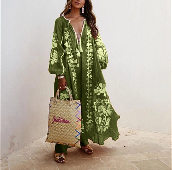 Bohemian Inwrought Colour Loose V Neck Maxi Dresses