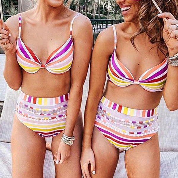 High Waist Bikini With Color Striped Chest Sling