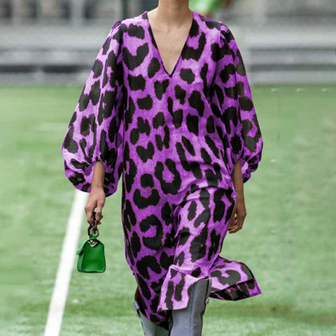 Fashion V-neck Leopard Puff Sleeve Loose Dress