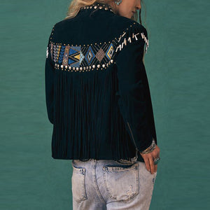 Lady rivet embroidery fashion jacket