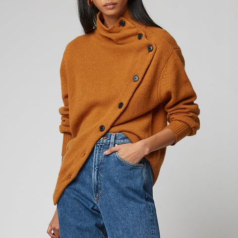 Casual Pure Colour Long Sleeve High Collar Sweater