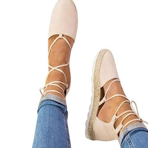 New cross straps with flat-bottomed hemp rope women's shoes