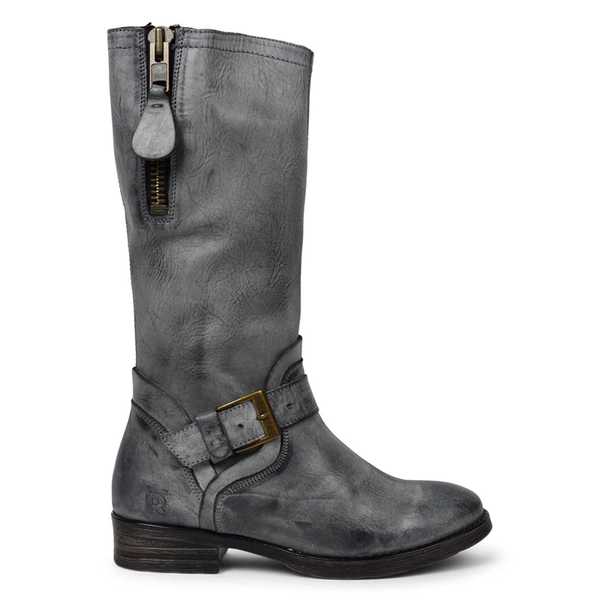 Ladies vintage round head polished leather high zipper boot