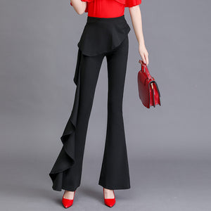 Casual Ruffled Stitching Asymmetric Pants