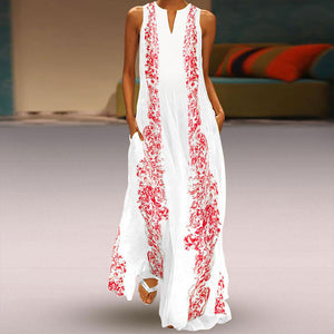 Chinese Style Irregular Neck Sleeveless Print Maxi Dresses for Women