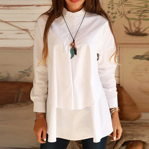 Casual Stand Collar Long Sleeve Solid Color Loose Shirt