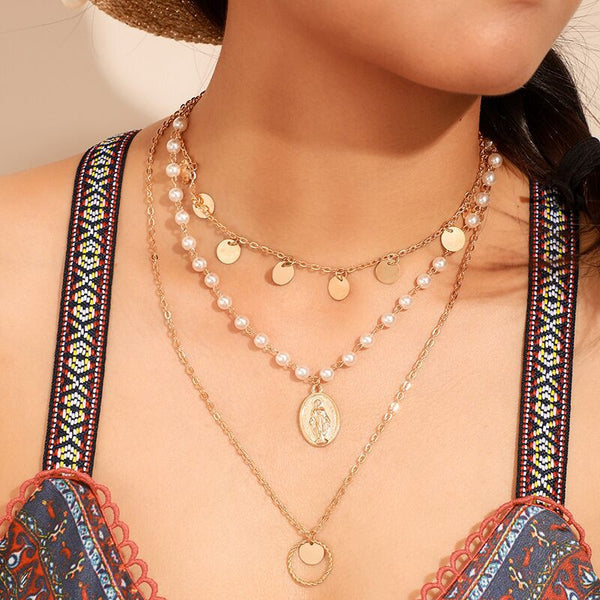 Women's Bohemian Geometric Alloy Pearl Multilayer Necklace