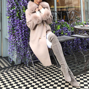 Fashion Pure Color Fur Collar Overcoat