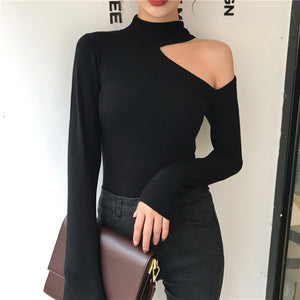 Vintage Pure Colour Off-Shoulder Halter Knitwear