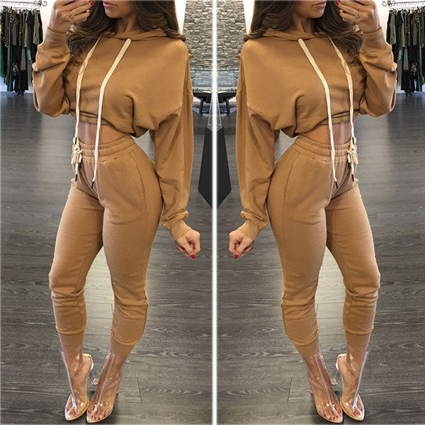 Casual Slim Sexy   Sports Hoodies Two Piece Suit