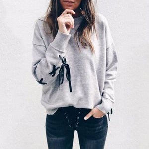 Round Neck  Cross Straps  Plain  Sweatshirts