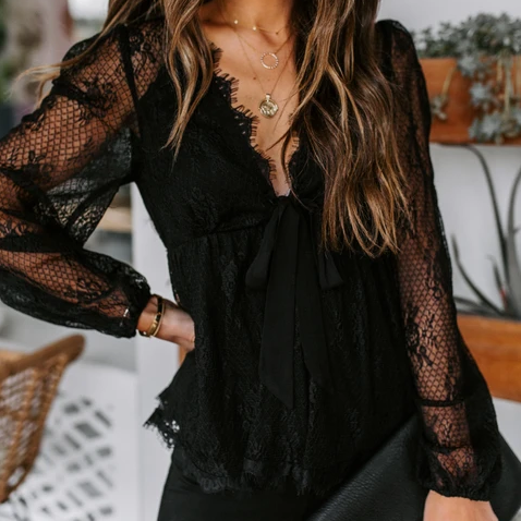 asual V Neck See-through Bishop Sleeve Lace Blouse