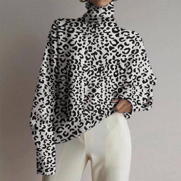 Women's fashion high collar leopard printed long-sleeved shirt sweater