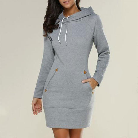 Casual Pure Color Medium Long Zipper Hoodie