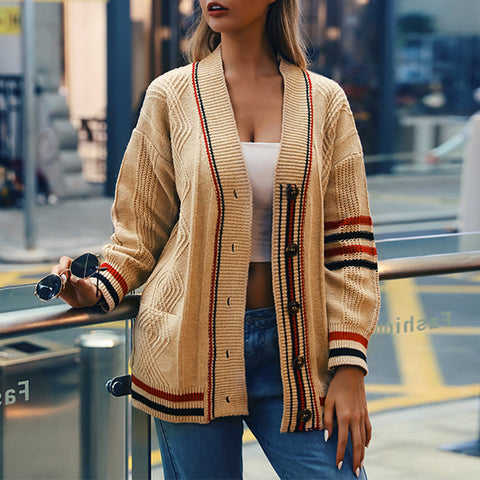 Streetwear Striped Long Sleeve A Lapel Cardigan
