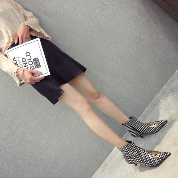 Fashion booties female metal double B pointed high heel boots Martin boots women's shoes