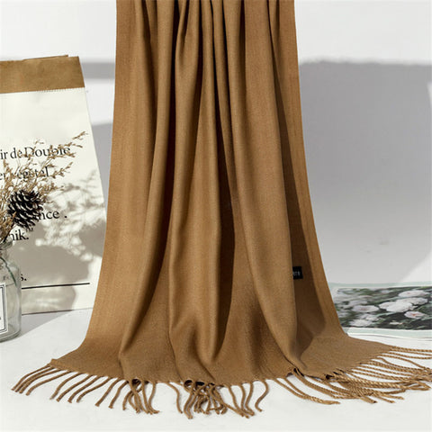 Casual tassel solid color thick scarf