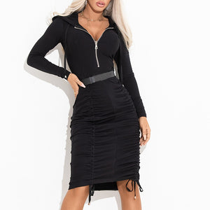 Sexy Pure Color Long Sleeve Zipper collar Dress