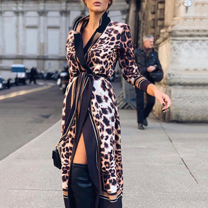Fashion Sexy Leopard Slit Long Sleeve Dress