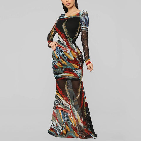 Fashion Abstract Print Backless Slim Evening Gown